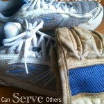 exercise shoes and work glove - serving others through exercise