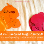 Apples and Pumpkins Hoppin' Harvest Game {thehomeschoolvillage.com} - an active game that incorporates sight words, letter/number recognition, math facts and more while getting exercise!