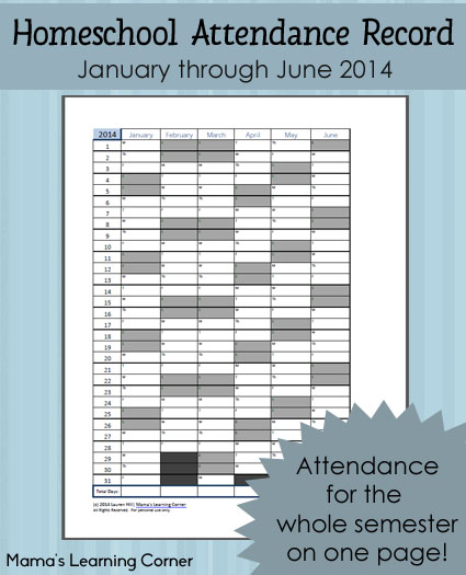 Homeschool Attendance Record 2014...FREE printable.