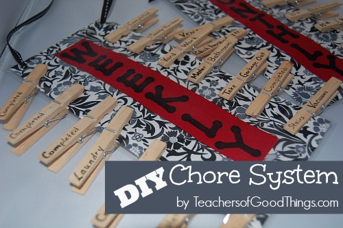 DIY Chore System that is simple to make and simple to use. Includes monthly and weekly chores!