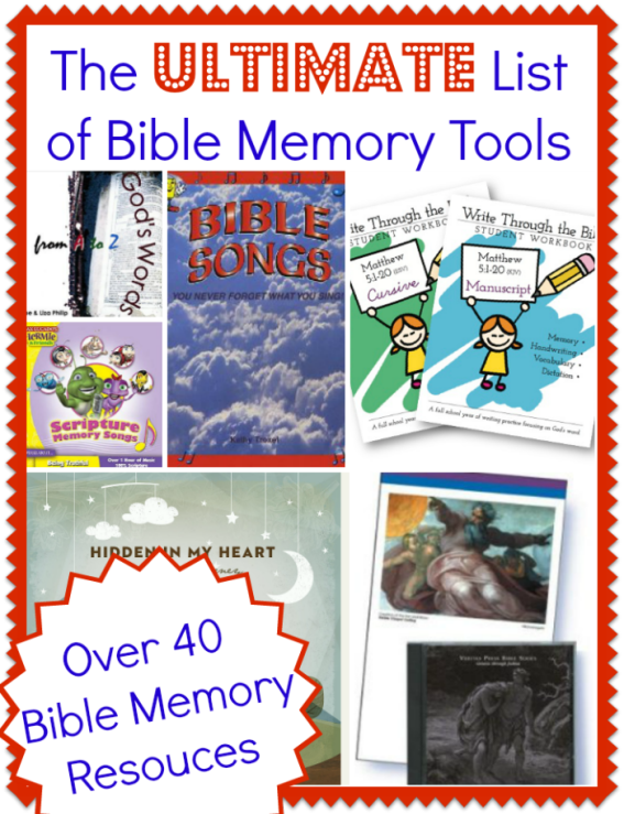 The Ultimate List of Bible Memory Tools. Great great list!
