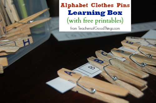 Alphabet Clothes Pins. A great idea for preschoolers. Free Printable.