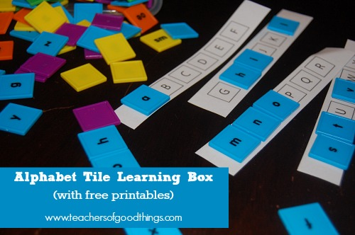 Alphabet Tile Learning Boxes. Free printables!