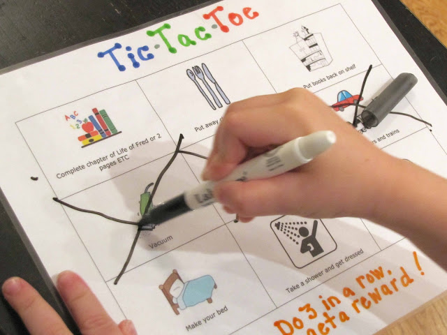 Tic-tac-toe chore chart...what a great idea!