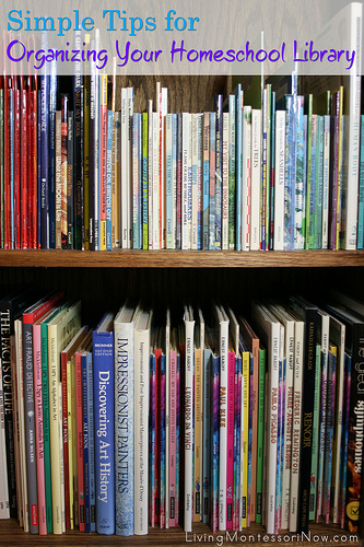 Organizing your homeschool library. Excellent SIMPLE tips!