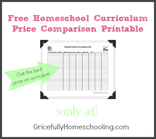 Free Homeschool Curriculum Price Comparison Printable -- Great for shopping at conventions