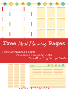 Weekly meal planning pages includes shopping list, recipe cards and weekly calendar