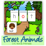Forest Animals CVC Words Printable