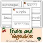 Fruits and Vegetables Kindergarten Writing Worksheets