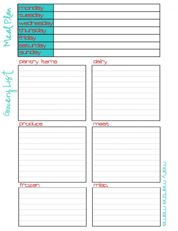 Meal Plan & Grocery List Printable