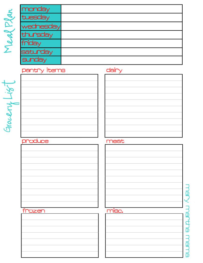 meal plan grocery list printable the homeschool village