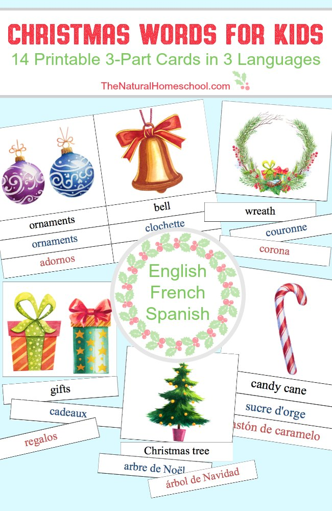 Christmas Words for Kids in 3 Languages {Printable 3-Part Cards}