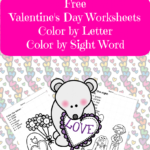 Valentines Day Worksheets:  Color by letter/Color by Sight Word