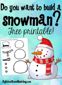 Free Activity - Do You Want to Build a Snowman