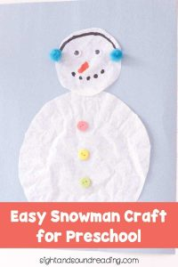 Easy Snowman Craft for Preschoolers
